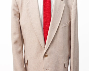 Men's Blazer / Vintage Jacket / Tan Sport Coat / Size 52/XXL / by Tolentino