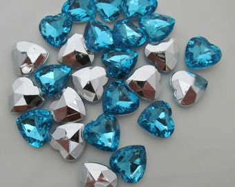 "Teal Blue Heart Acrylic Gems .62"" 16mm non-sew glue in faceted back - 25 total"