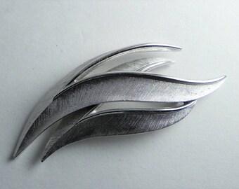 Trifari Leaf Brooch, Brushed Silver Tone, Two Leaves, Wave, Crown Trifari