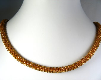 """Hand Crocheted Gold Rocaille Glass Seed Bead Necklace 18"""""""