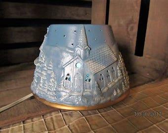 Vintage Scioto Ceramics Light Up Electric Winter Wonderland Church Toy Store Bakery Christmas Lamp Blue & White
