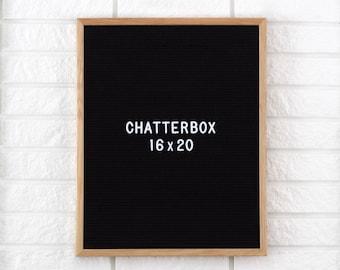 """16x20"""" Chatterbox Letter Board - Oak Frame Letter Board - Messenger Board - Felt Board with 300+ Letter Set"""