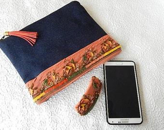 Denim purse, beaded purse,  peach  beaded pouch, fabric purse, zippered pouch, fashion accessory, womens accessory
