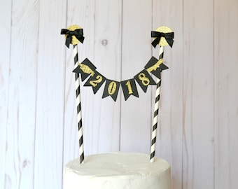 Graduation Party Decorations - Graduation Cake Topper - Class of 2018 Cake Topper - Congrats Grad - Bunting Cake Topper - Class of 2018