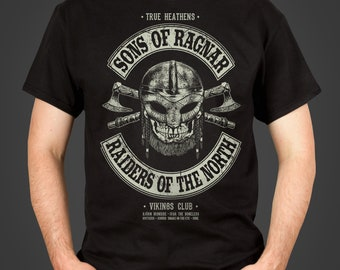 Sons of Ragnar - Raiders of the North - a retro motorcycle club logo Vikings inspired Men's t-shirt, screen printed by hand - geek gift