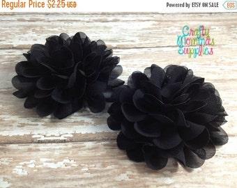 "ON SALE Black Chiffon Flowers, 3"", Petal, Set of 2, Craft Supplies, Baby Headbands, Infant Headband, Hair bows, DIY Weddings, Sewing, Wholes"