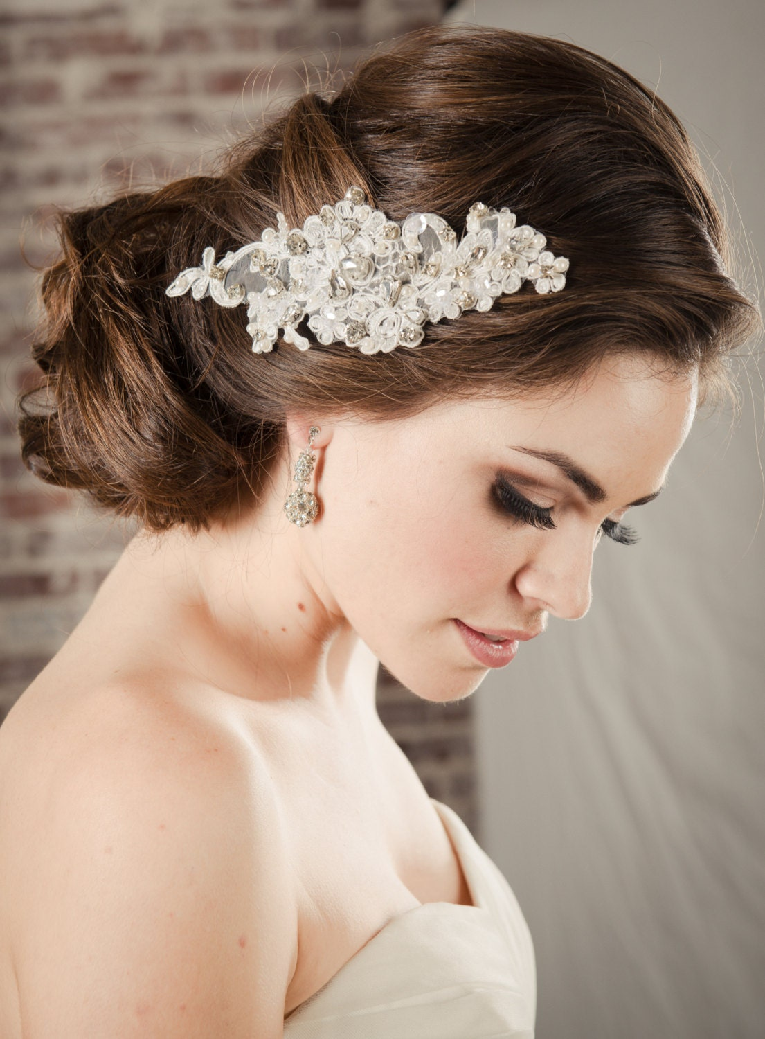 hair accessories bridal lace comb pearl & rhinestone