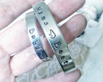 Mama Bear and Baby Bear cuff bracelet set