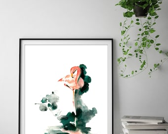 Flamingo art print, flamingo watercolor painting print, modern wall art print, pink salmon flamingo, emerald green background