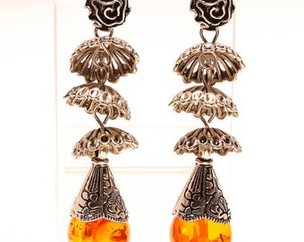 BALTIC AMBER JHUMKI  Silver Earrings 3""