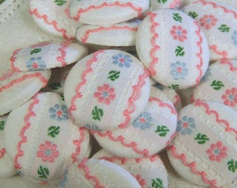 "Cloth Covered Button - Pink and Blue Floral Trim - Wireback Buttons - 1-1/8"" - By the Button"