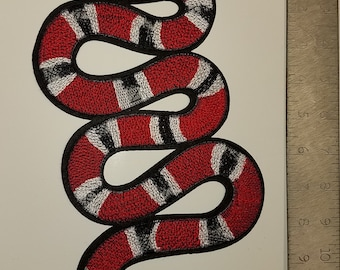 GUCCI inspired embroidered SNAKE patch with adhesive (green OR red)