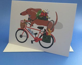Dachshund Card-Doxie Card-Gift for Dog Lover Bicycle Card Bon Voyage