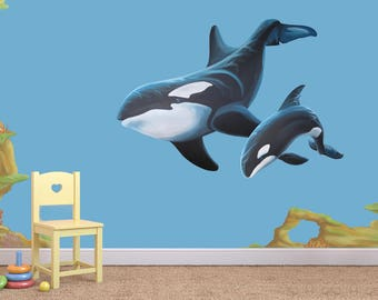 Whale decals, wall decal, wall decals, whale mural, whale decal, orca whale decal, sea decals, sea life decals, sea life sticker, sea decal
