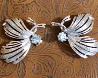 Vintage Emmons Silver Tone Swirl Earrings 1950