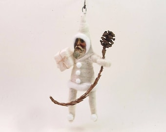 READY TO SHIP Vintage Inspired Spun Cotton Snow Santa Chritmas Ornament Ooak