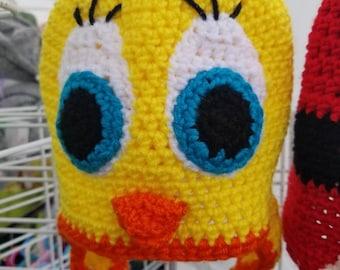 Twittie the bird, animal hat, crochet hat, bird winter hat