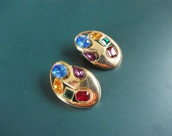 Vintage Modernist Multi Colored Glass Rhinestone Clip On Earrings