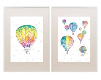 Up Up and Away / Watercolour Hot Air Balloons / Nursery Art