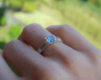 Sterling silver color engagement ring - 925 Sterling Silver engagement ring - Blue stone Promise ring