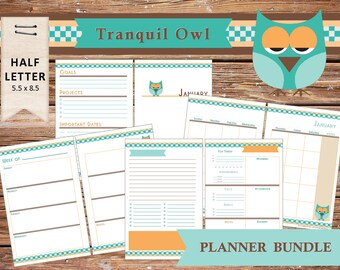 """Monthly, Weekly & Daily UNdated Printable Calendar Planner Refills: """"Tranquil Owl"""" - Bonus Covers/Notes Pages - US Half Page"""