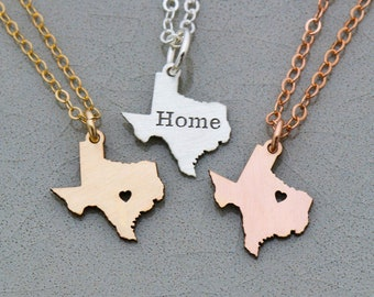 Texas Necklace State Texas • Jewelry Graduation Present Personalized Hometown • Going Away Gift Custom Texas Gift Personalized State Gift