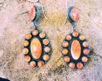 Rare Red Spiny Oyster Shell Navajo Native American Sterling Silver Inlay Dangle Earrings