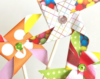 Party like it's your birthday Sequined Pinwheels. Pinwheel Cupcake Toppers. Paper Pinwheels. Pinwheel Birthday. Pinwheel decor. Candy.