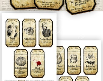 15 Large Halloween Apothecary Labels Jar Labels Apothecary Jars printable paper crafting instant download digital collage sheet - VD0420