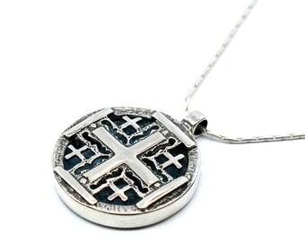 Unique Roman Glass Jerusalem Cross, Sterling Silver Cross, Roman Glass Cross, HolyLand Roman Glass Christian Necklace, Round Jerusalem Cross