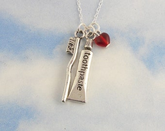 Brush your teeth necklace- Toothbrush & toothpaste, red heart, sterling silver chain -Free Shipping USA