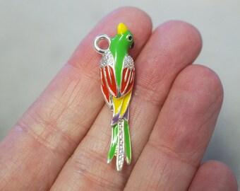 1 Metal Enamel 3D Parrot Charm - Multicolour - 40mm