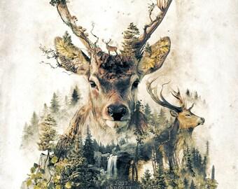 The Deer my original art nature animals surrealism forest rustic artwork signed premium quality giclée print