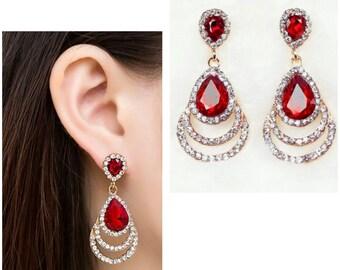Red Drop Earrings Red Bridesmaid Earrings Red Bridal Jewelries Red Bridal Earrings Red Rhinestone Earrings  Red Water Drop Earrings Crystal