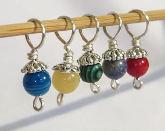 Set of 5 semi-precious stitch markers for knitting.  Bold coloured stones.
