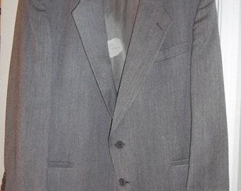 Suit Coat by C & R Clothiers, Men's Vintage Basic 100% Wool Suit Coat Sz L, Gray, w/Geometric Pattern