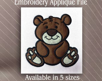 Applique Baby bear machine Embroidery design file pattern