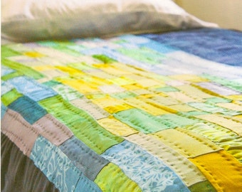 Night and Day Quilt in hand dyed and printed blue silk and multi bamboo, one of a kind, decorative or crib size