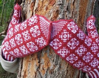 "Women's mittens (""Dambrod"") knitting pattern (PDF)"
