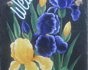 PURPLE IRIS Slated, Hand Painted....