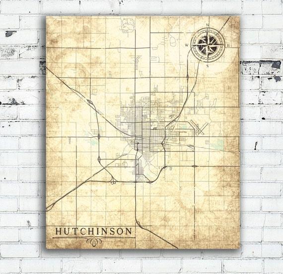 HUTCHINSON KS Canvas Print Kansas KS Vintage map Town Plan
