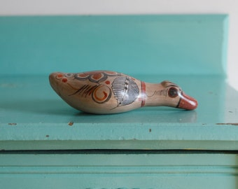 Vintage Tonala Mexican folk art ceramic duck, antique mexican art Tonala, vintage tonala ceramic bird