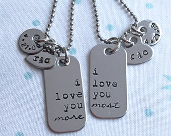 Personalized Couples Necklace Key Chain Set Wedding Gift His