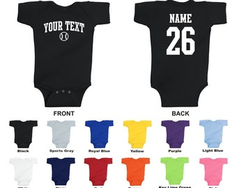 Personalized custom your text and number baseball baby one piece romper, you choose the text for the front and back, ARCHED TEXT
