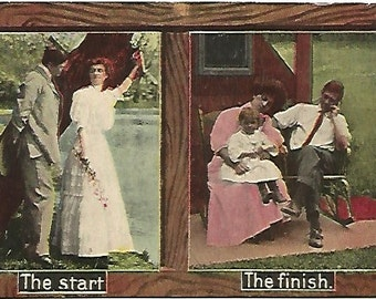 "Couple Dating then After Couple Married with Toddler ""The Start"" ""The Finish""  Antique Postcard 1912  1 Cent Washington Free Shipping in US"