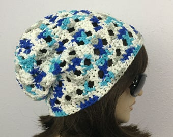 Womens Summer Crochet Hat Womens Summer Slouchy Beanie in Color Changing Yarn Women Spring Hat Summer Fashion