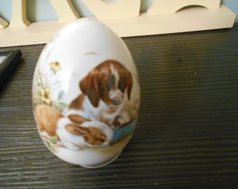 porcelain egg  puppy dog and bunny