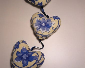 Yellow and blue floral fabric hearts Garland