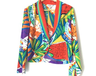 Jacket 8 Vintage Jo Hardin 80s Colorful Cropped Tropical Cool Jacket Size 8