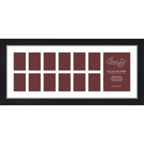 Craig Frames, 9x22 Inch Black Picture Frame, Single White Collage ...